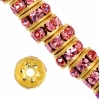 Rhinestone Rondelle (Flat Round) 5mm Gold/Light rose